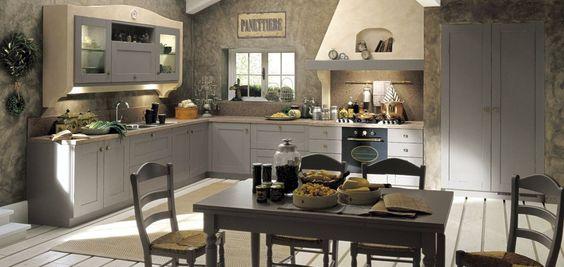 Nostalgische Keukenvloer : Landelijke keuken met grijze keukenkasten Kleurrijke keukens