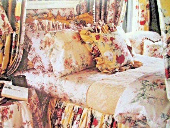 "Ralph Lauren Kathleen Therese Ruffled Down Toss Pillow 18"" Yellow Red Floral EUC #RalphLauren #FrenchCountry"