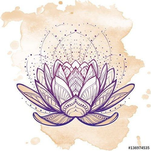Tattoo Vector Lotus Flower Intricate Stylized Linear Drawing Isolated On Grunge Background Concept Art For Hindu Y Lotus Flower Art Lotus Drawing Lotus Art
