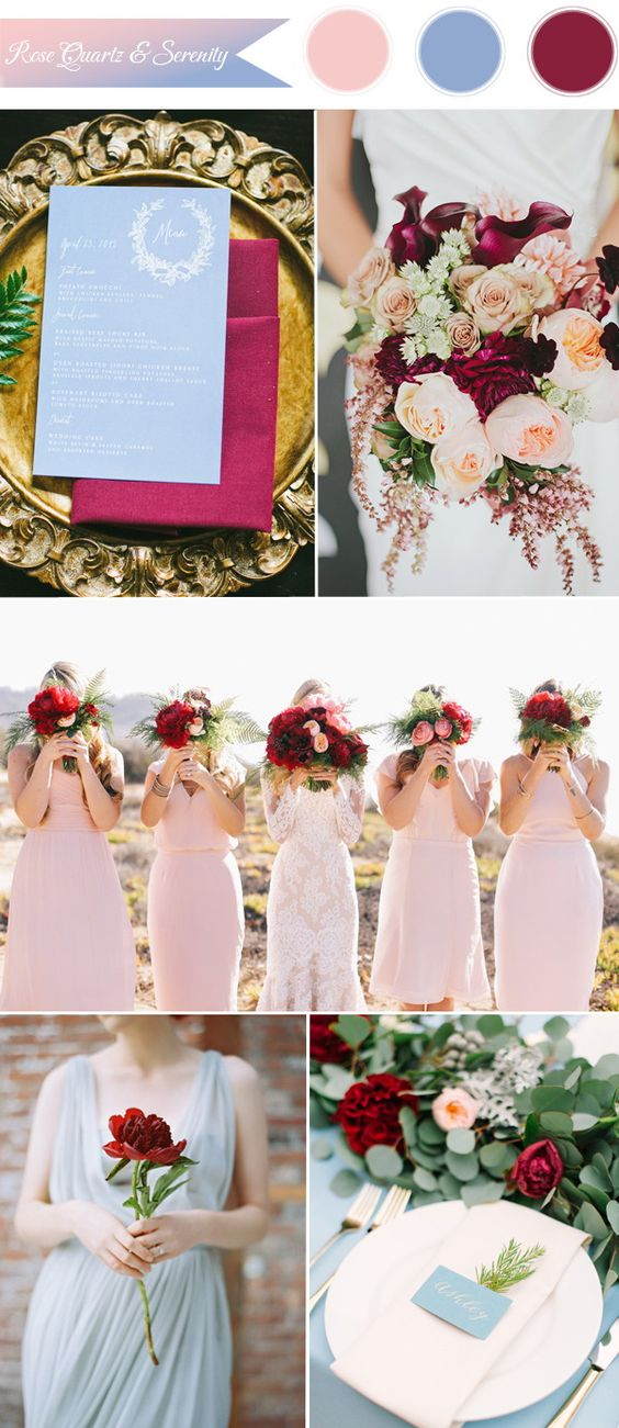 2016 pantone trending rose, serenity and cranberry wedding color ideas