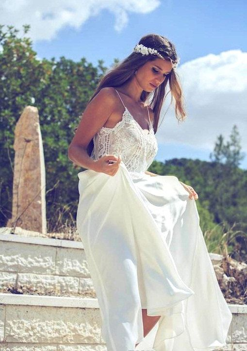 Boho v neck v back spaghetti strap backless a line chiffon for Backless boho wedding dress