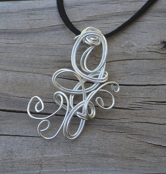 Silver Wire Pendant  Silver  Necklace Silver by thedreamersgallery