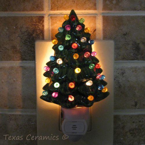 Ceramic Christmas Tree Night Light Automatic Light Sensitive Switch Christmas Tree Night Light Ceramic Christmas Trees Miniature Christmas Trees