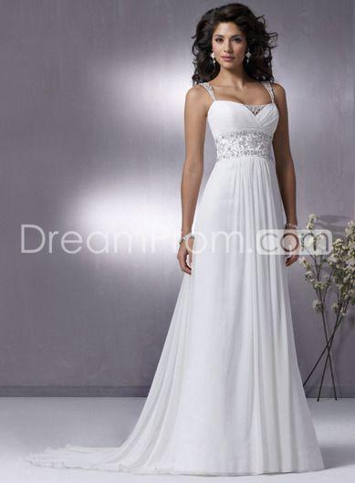 Gorgeous Chiffon Empire Spaghetti Strap Sleeveless Wedding Dresses