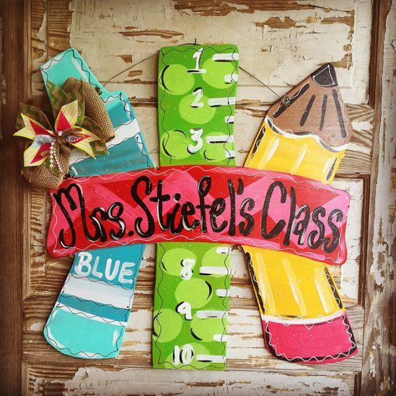 Teacher Gift Teacher Door Hanger Classroom by queensofcastles