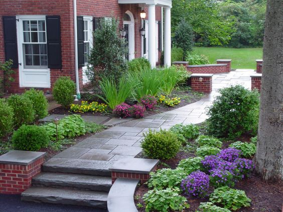 Front Yard Stone Walkways Index Of Images Before After Renovated Suburban Home Landscape 1