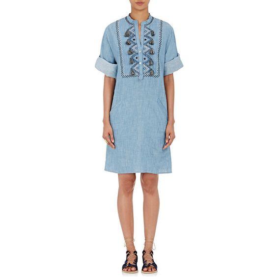 Banjanan Women's Belinda Dress (£245) ❤ liked on Polyvore featuring dresses, blue, blue embroidered dress, blue sleeve dress, embroidery dress, bib dress and sleeved dresses
