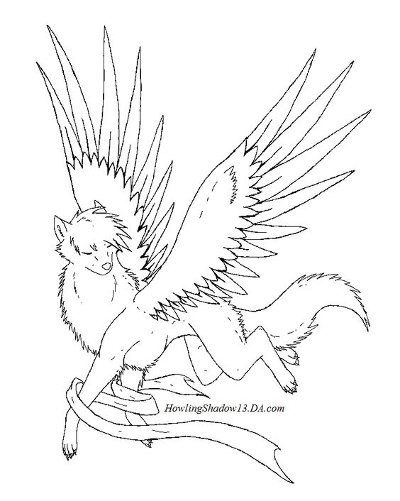 baby winged wolf coloring pages - photo#30
