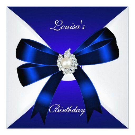 Elegant Birthday Invite Royal Blue Pearl White 18th