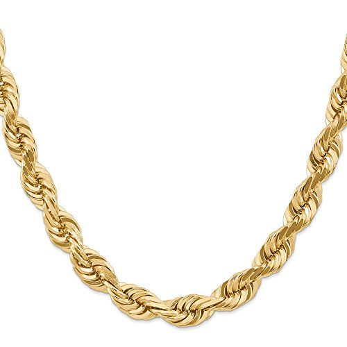 14k Yellow Gold 10mm Link Rope Chain Necklace 20 Inch Pendant Charm Handmade Fine Jewelry Fine Jewelry Gift Chains Necklace Necklace Lengths