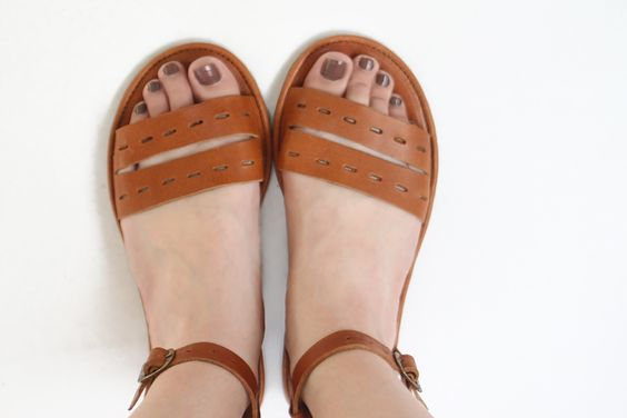 Image of Handmade Leather Sandals- Cut Here in tobacco brown
