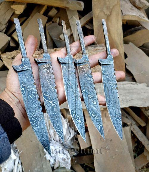 Custom Handmade Damascus Knives Lot Of 05 Damascus Steel Blank Blade Damascus Steel Blanks Damascus Steel Damascus Knife
