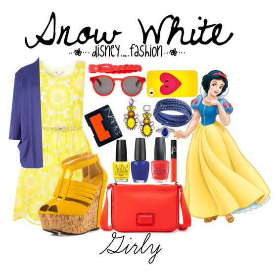 """Snow White girly"" by disneydotunderscoredotfashion ❤ liked on Polyvore featuring Disney, Yumi, Vero Moda, Shoe Republic LA, Marc by Marc Jacobs, OPI, NARS Cosmetics, BaubleBar, Swarovski and dELiA*s"