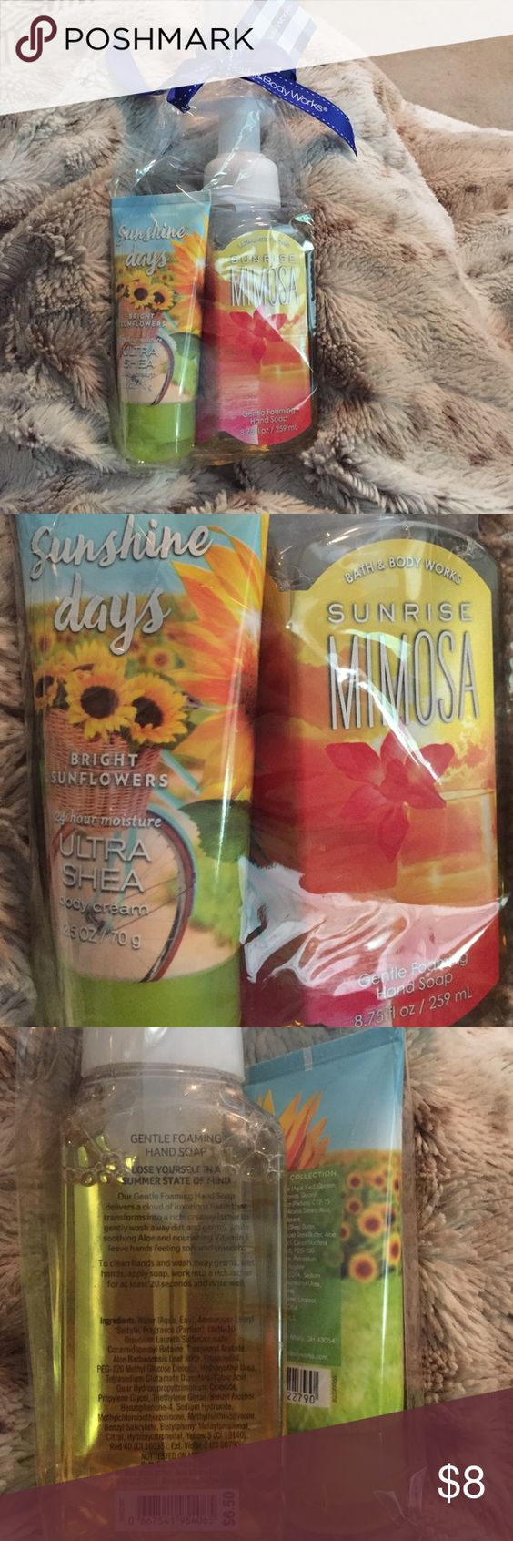 🎉🌻🆕Bath & Body Works Gift Set🌻 Includes 1 mimosa sunrise gentle foaming hand soap & 1 sunshine days bright flowers ultra she's body Cream. Free make up bag with bundles! ☺️ 🎉 Bath & Body Works Other