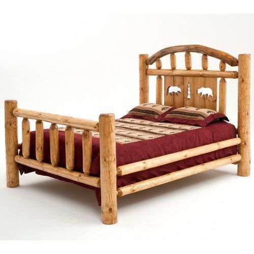 Rustic Black Bear Silhouette Log Bed Queen Size Chic Home Decor