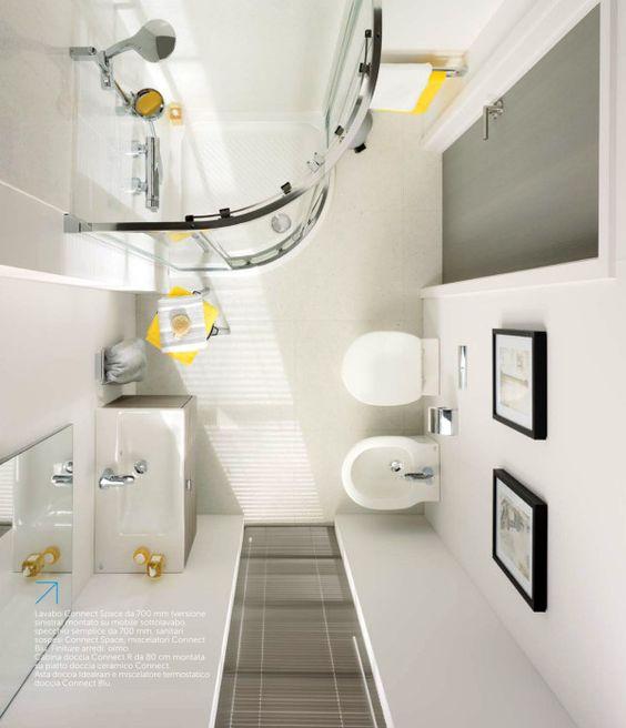 Spazi on pinterest - Spazio minimo per un bagno ...