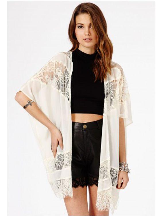 Freya Lace Kimono In Cream, $39.58, missguided.co.uk.   - Seventeen.com