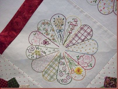 embroidered Dresden Plate: Crazy Quilts, Quilt Block, Dresden Quilt, Dresden Plate Quilts, Quilts Dresden, Dresden Garden, Embroidered Quilts, Dresden Plates