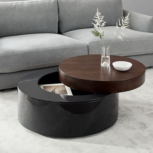 Stacked Disk Storage Coffee Table Walnut Anthracite Coffee