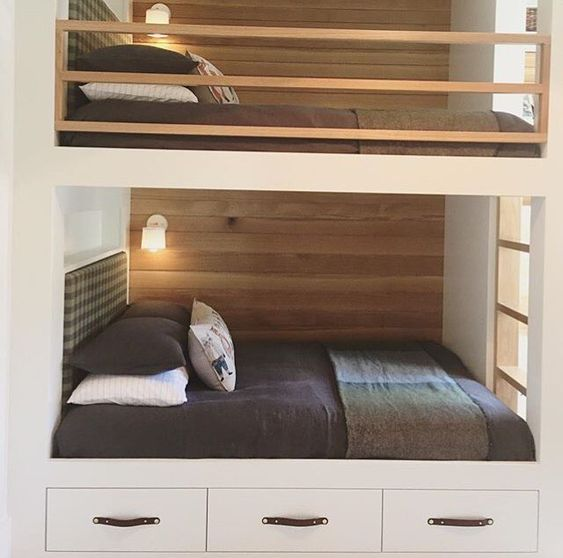 Beautifully Designed Bunk Beds With Leather Drawer Pulls From Our