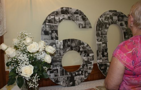 Happy friday celebrating 60 years easels to the wall for 60th wedding anniversary decoration ideas