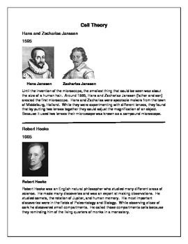 Cell Theory Timeline Worksheet cell theory timeline activity cell ...
