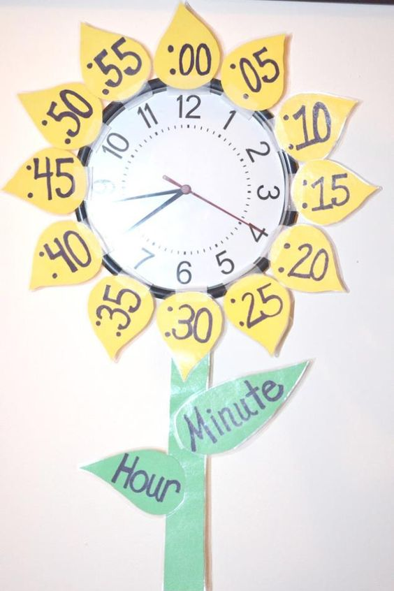 Love this sunflower clock to teach time