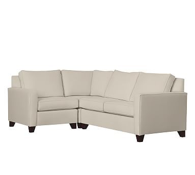 Cameron Square Arm Upholstered Right Arm 3-Piece Corner Sectional, Polyester Wrapped Cushions, Brushed Canvas Stone