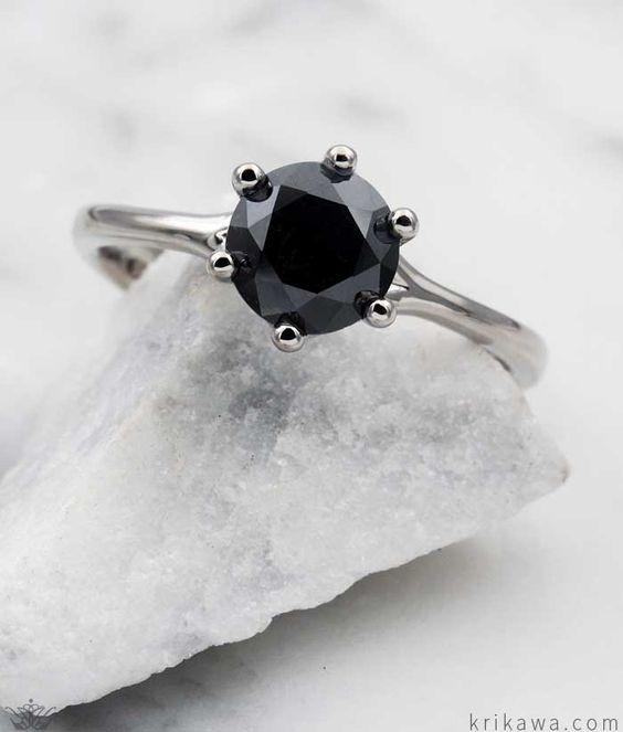 Simple Six Prong Solitaire Engagement Ring With A Black Diamond Customize This Timeless Design In Your Solitaire Engagement Ring Modern Ring Engagement Rings