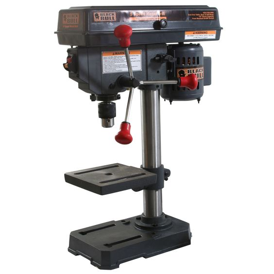 This cast-iron 5-speed drill press by Black Bull is perfect for any workshop. With 90-degree table rotating capability, this drill press can tackle your most complex projects. Table tilts 0 to 90 degr