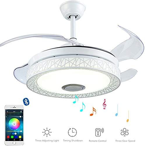 Enjoy Exclusive For Morechange 42 Inch Bluetooth Ceiling Fans Lights Remote Control Retractable Chandelier Fan Lighting Speaker Play Music 7 Colorful Dimmab In 2020 Chandelier Fan Ceiling Fan With Light Led Ceiling Fan