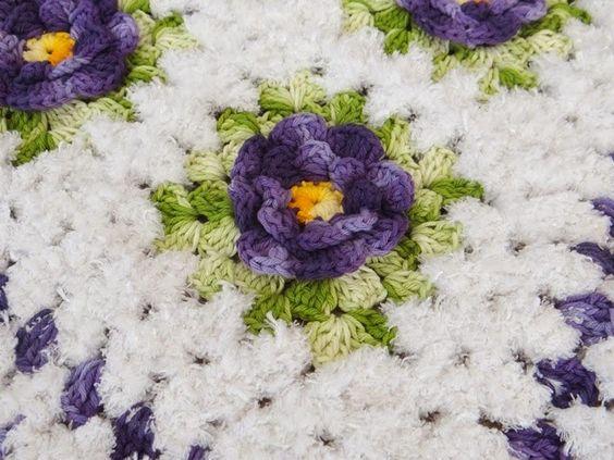 Tapete Em Crochê com Flores