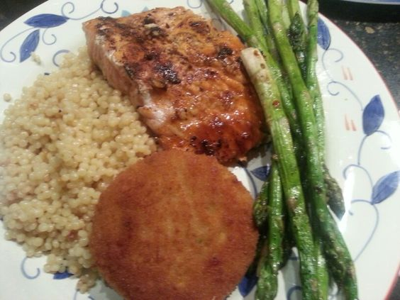 Grilled Honey Ginger Salmon, Spicy Crab Cakes, Grilled Asparagus, over ...
