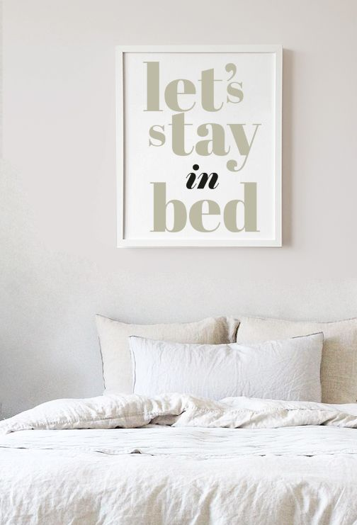 Let S Stay In Bed Quote Wall Art Couple Bedroom Decor Bedroom