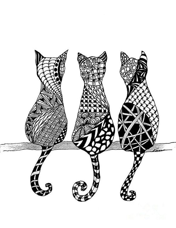 The Cats Meow Drawing adorable bohemian kitties to color and try out your new…