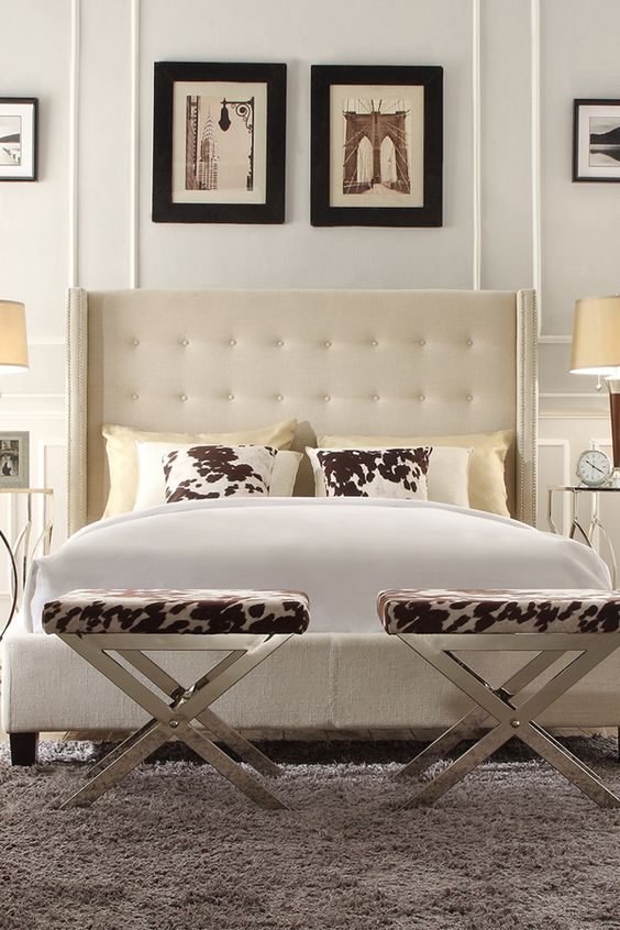 "Show your bedroom a little ""tuft"" lovin' with the on-trend look of a modern wingback bed from Overstock. With its light-colored linen upholstery, this tufted headboard will add a touch of glamour and style while also brightening up your living space.:"
