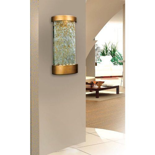 Indoor Water Fountain Wall/Table-Warm Copper Finish &  Natural Slate Accents