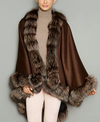 Stylishly layer any ensemble with The Fur Vault's wool-blend cape, showcasing fox-fur trim for a chic finish. | Wool/cashmere; trim: real fox fur | Professional fur clean only | Made in USA of importe