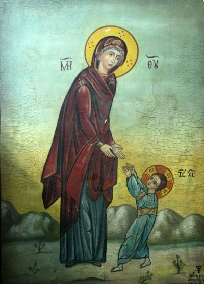 "Icon in an Orthodox Church: ""The first steps of Jesus"":"