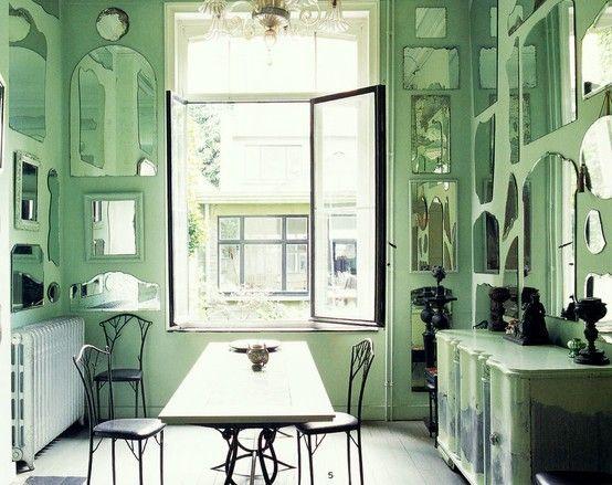 minty green room via little blue deer blog