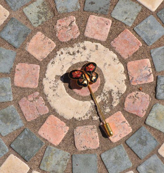 Cloisonne enamel butterfly stick pin.