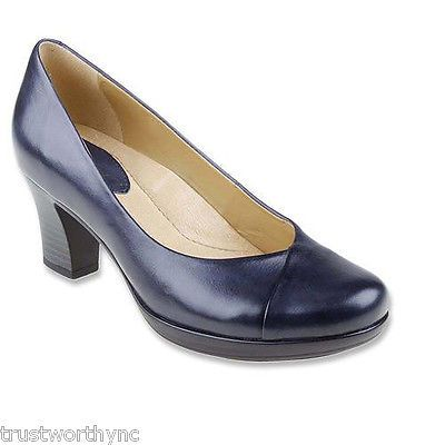 $99 New Earth Tamarack Admiral Blue Leather Pump Arch Support Size 7M