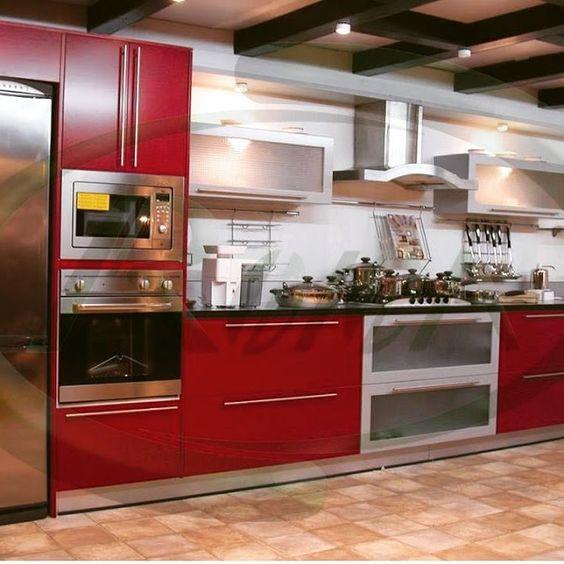 Modernas cocinas modulares en color rojo y gris dise o y - Disenos cocinas modernas ...