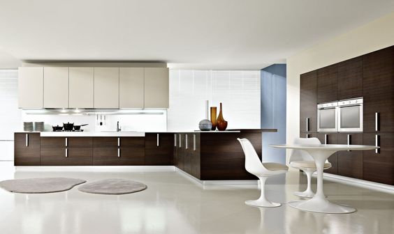 White and dark wood are perfect for large kitchens