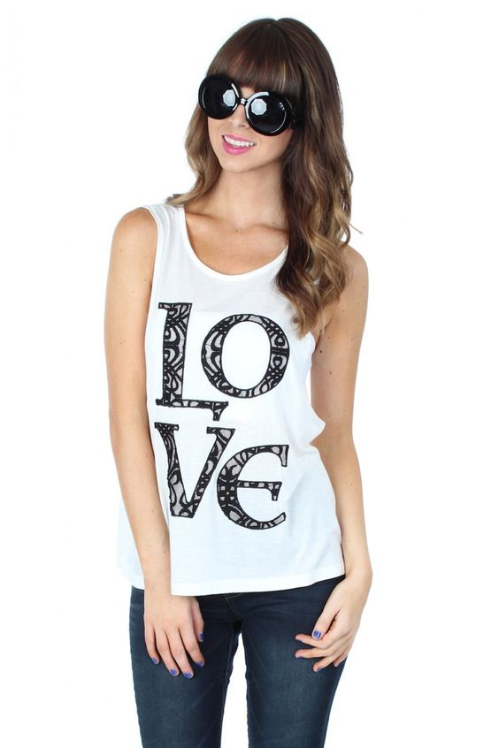 Love Lace Tee $14.99 #sophieandtrey #tops #tanks #tees #tshirt #love #lace #cutouts