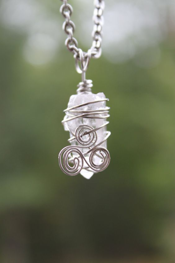 Quartz Crystal Point Stainless Steel Wire Wrapped Healing Stone Pendant. Healing crystals and stones. Chakra stone. Triskele charm necklace. by CrystalAffinity on Etsy