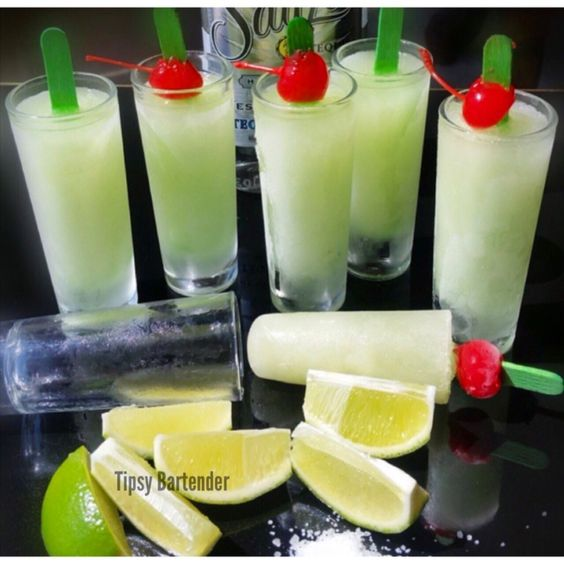 Margarita Popsicles! 1 cup Margarita Mixer, 2 oz (60 ml) Fresh Lime Juice, 1 oz (30 ml) Water, 1 oz (30 ml) Triple Sec/Fresh Orange Juice, 2 oz (60 ml) Tequila, A pinch of salt.