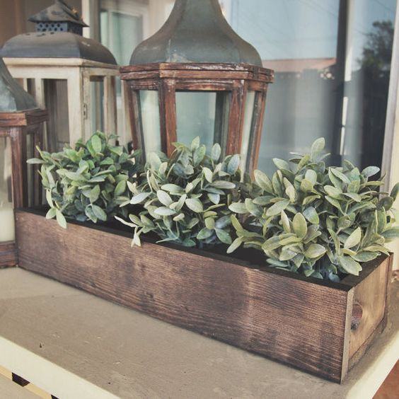 Hand made rustic flower box table centerpiece