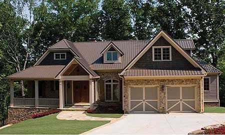 Craftsman floor plans and house on pinterest for Building a garage on a sloped lot