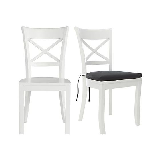 Vintner White Side Chair and Cushion--dining room. Comes in black, gray, blue, red and mint.